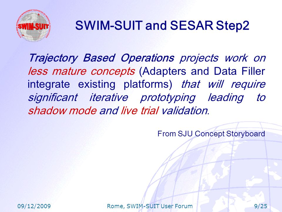 09/12/2009 Rome, SWIM-SUIT User Forum 20/25 Ongoing Activities: US-Europe SWIM Interoperability Develop initial capabilities to study interoperability between US and European SWIM infrastructures in coordination with the FAA Establish connection between SWIM-SUIT prototype and Boeing US SWIM laboratories (which include technologies representative of FAA SWIM) through BR&TE Initial analysis of interoperability between SWIM-SUIT and US SWIM through SDD and FDD data sharing (transoceanic scenarios) Achieving interoperability between the two systems will provide a reference framework to evaluate performance and operational benefits to the stakeholders involved: –e.g.