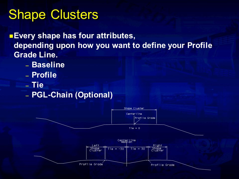 Shape Clusters Every shape has four attributes, depending upon how you want to define your Profile Grade Line. – Baseline – Profile – Tie – PGL-Chain