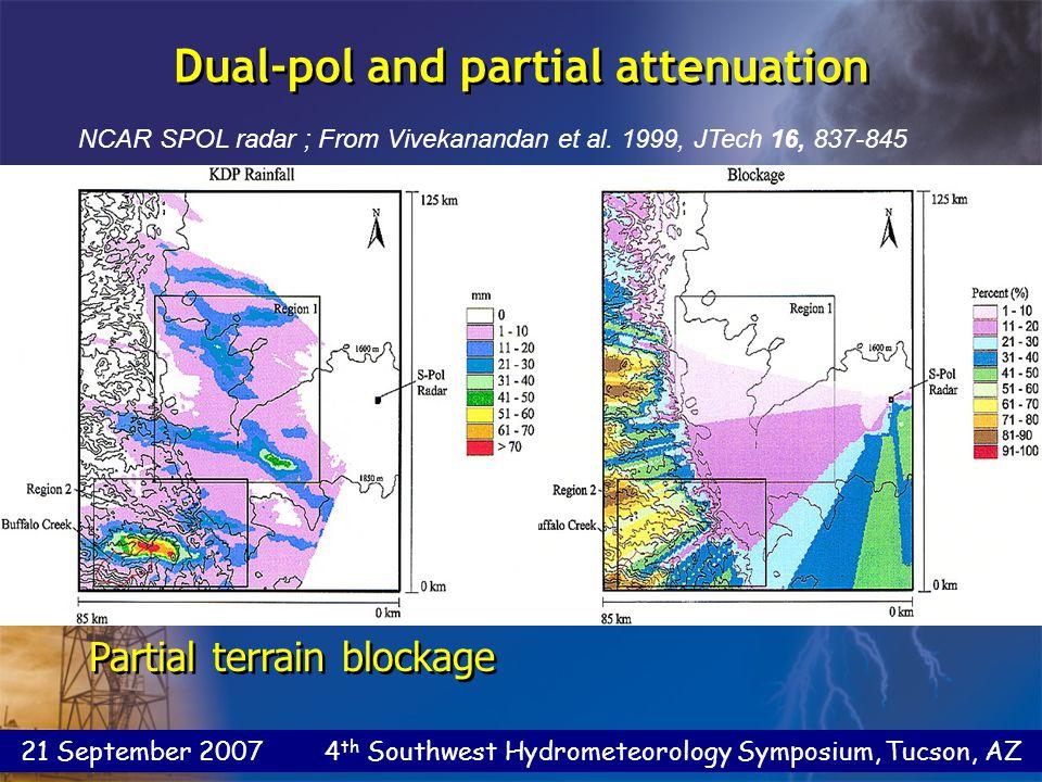 21 September 2007 4 th Southwest Hydrometeorology Symposium, Tucson, AZ NCAR SPOL radar ; From Vivekanandan et al.