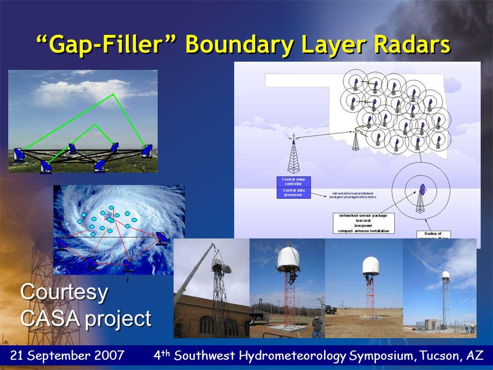 21 September 2007 4 th Southwest Hydrometeorology Symposium, Tucson, AZ Gap-Filler Boundary Layer Radars Courtesy CASA project Courtesy CASA project