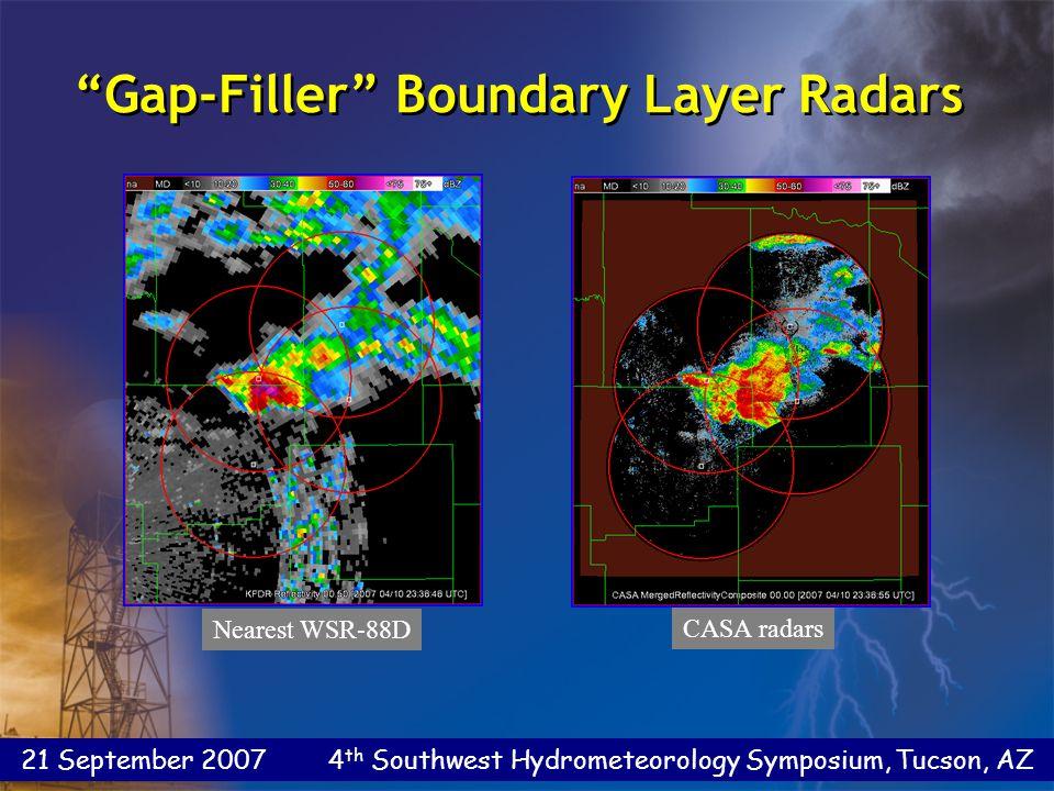 21 September 2007 4 th Southwest Hydrometeorology Symposium, Tucson, AZ Gap-Filler Boundary Layer Radars Nearest WSR-88D CASA radars