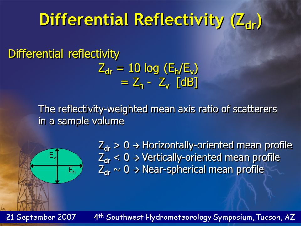 21 September 2007 4 th Southwest Hydrometeorology Symposium, Tucson, AZ Differential reflectivity Z dr = 10 log (E h /E v ) = Z h - Z v [dB] The reflectivity-weighted mean axis ratio of scatterers in a sample volume Z dr > 0  Horizontally-oriented mean profile Z dr < 0  Vertically-oriented mean profile Z dr ~ 0  Near-spherical mean profile Differential reflectivity Z dr = 10 log (E h /E v ) = Z h - Z v [dB] The reflectivity-weighted mean axis ratio of scatterers in a sample volume Z dr > 0  Horizontally-oriented mean profile Z dr < 0  Vertically-oriented mean profile Z dr ~ 0  Near-spherical mean profile EhEh EvEv Differential Reflectivity (Z dr )