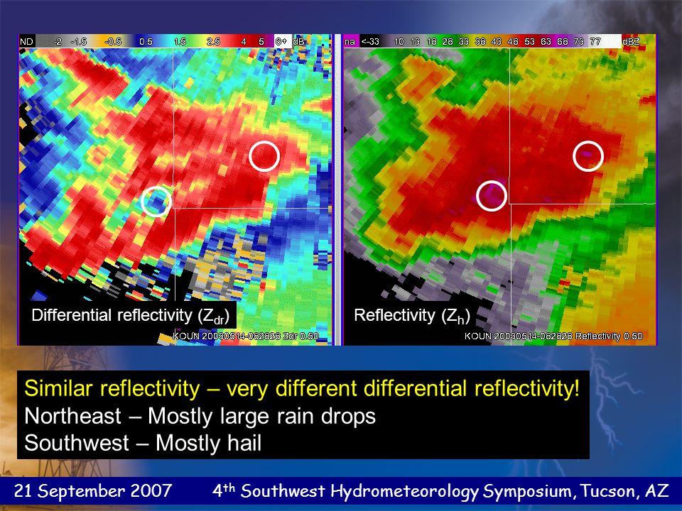21 September 2007 4 th Southwest Hydrometeorology Symposium, Tucson, AZ Specific Differential Phase Shift  DP(r2) –  DP(r1) K DP = [deg/km] 2 (r 2 – r 1 ) The range derivative of differential phase shift - Identify areas with significantly non-spherical scatterers (usually, rain) - Can estimate rain amount in rain/hail mixture Specific Differential Phase Shift  DP(r2) –  DP(r1) K DP = [deg/km] 2 (r 2 – r 1 ) The range derivative of differential phase shift - Identify areas with significantly non-spherical scatterers (usually, rain) - Can estimate rain amount in rain/hail mixture Specific Differential Phase Shift (K DP )