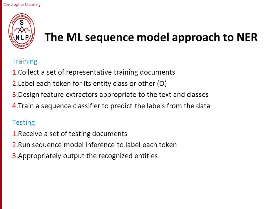 Christopher Manning The ML sequence model approach to NER Training 1.Collect a set of representative training documents 2.Label each token for its entity class or other (O) 3.Design feature extractors appropriate to the text and classes 4.Train a sequence classifier to predict the labels from the data Testing 1.Receive a set of testing documents 2.Run sequence model inference to label each token 3.Appropriately output the recognized entities