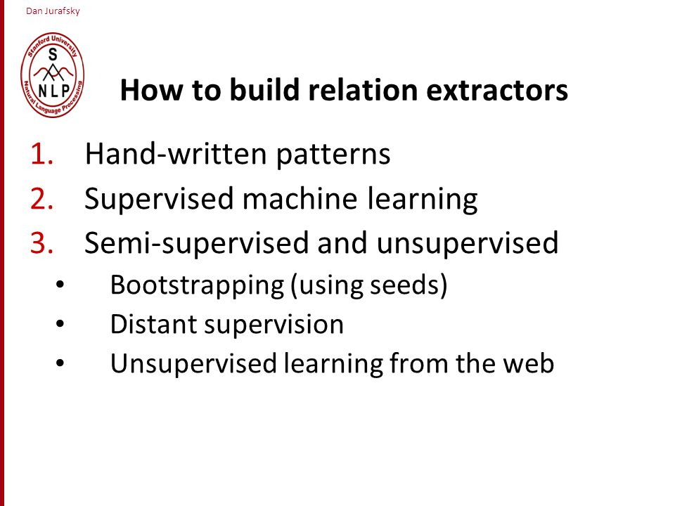 Dan Jurafsky How to build relation extractors 1.Hand-written patterns 2.Supervised machine learning 3.Semi-supervised and unsupervised Bootstrapping (using seeds) Distant supervision Unsupervised learning from the web