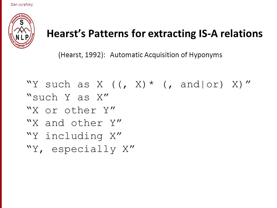 Dan Jurafsky Hearst's Patterns for extracting IS-A relations (Hearst, 1992): Automatic Acquisition of Hyponyms Y such as X ((, X)* (, and|or) X) such Y as X X or other Y X and other Y Y including X Y, especially X