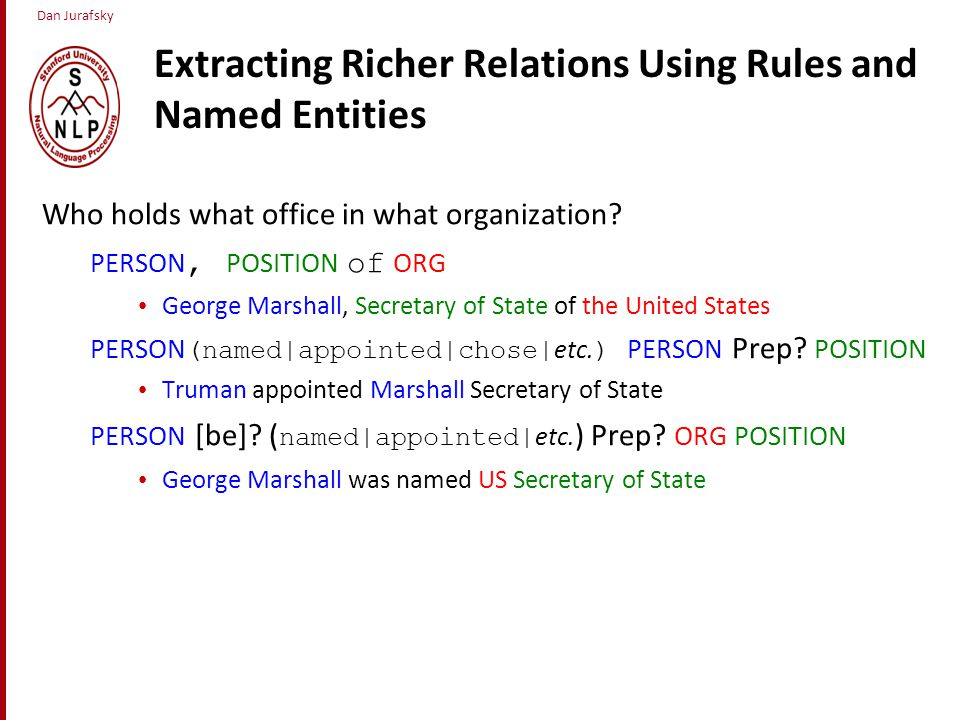 Dan Jurafsky Extracting Richer Relations Using Rules and Named Entities Who holds what office in what organization.
