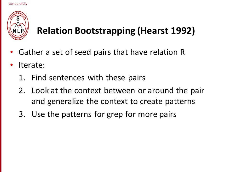 Dan Jurafsky Relation Bootstrapping (Hearst 1992) Gather a set of seed pairs that have relation R Iterate: 1.Find sentences with these pairs 2.Look at the context between or around the pair and generalize the context to create patterns 3.Use the patterns for grep for more pairs