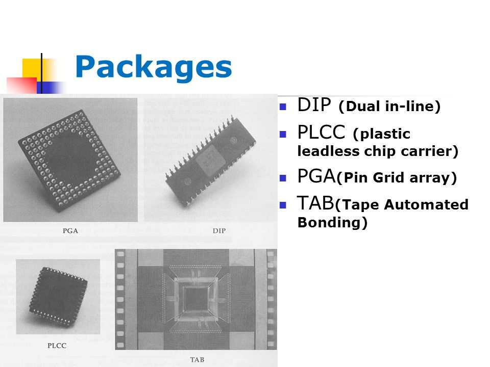 DIP (Dual in-line) PLCC (plastic leadless chip carrier) PGA (Pin Grid array) TAB (Tape Automated Bonding) Packages