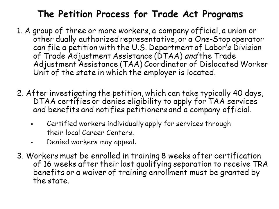 Based on individual eligibility, members of a Trade petition certified worker group may receive one or more of the following Reemployment Trade Services available at Barren River Area Career Centers: Job Search Registration Employment Counseling Case Assessment Job Development Supportive Services Self-Directed Job Search Services Job Search Allowances: For costs of job search outside of the local area (anything over 100 miles one way), reimbursement of 90% of the cost up to a maximum of $1,250.00.