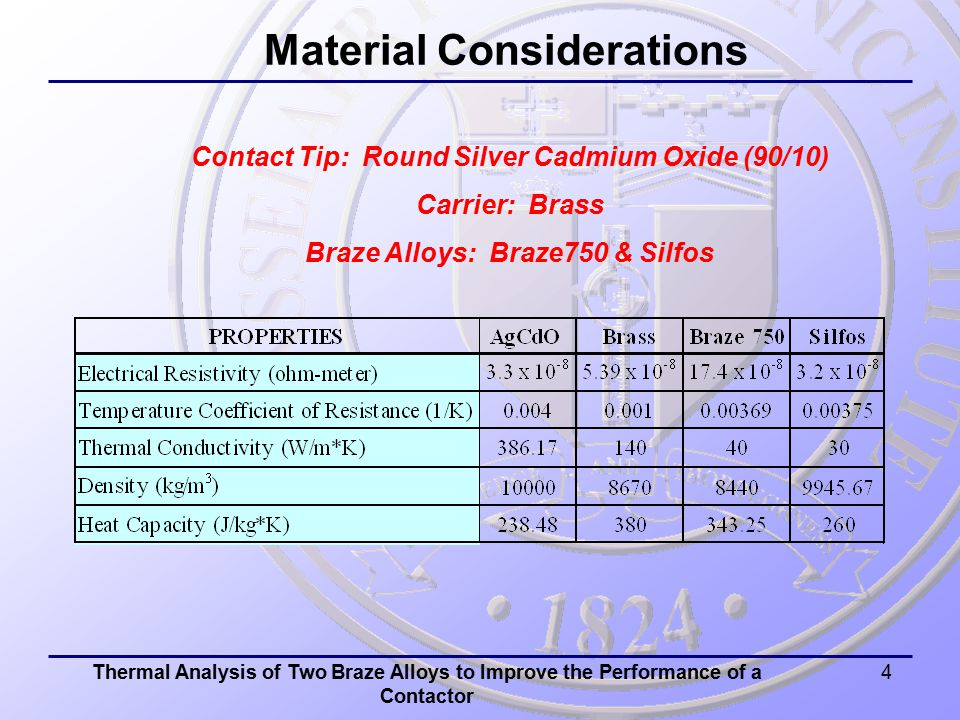 Thermal Analysis of Two Braze Alloys to Improve the Performance of a Contactor 4 Material Considerations Contact Tip: Round Silver Cadmium Oxide (90/10) Carrier: Brass Braze Alloys: Braze750 & Silfos