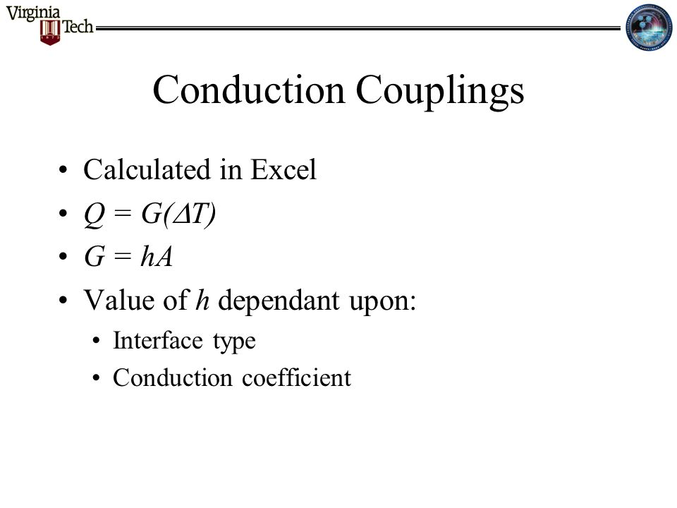 Conduction Couplings Calculated in Excel Q = G(  T) G = hA Value of h dependant upon: Interface type Conduction coefficient