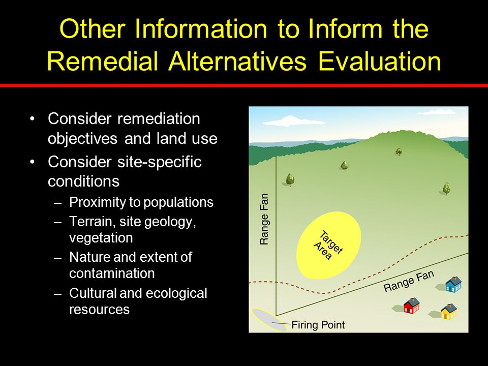 Consider remediation objectives and land use Consider site-specific conditions –Proximity to populations –Terrain, site geology, vegetation –Nature an