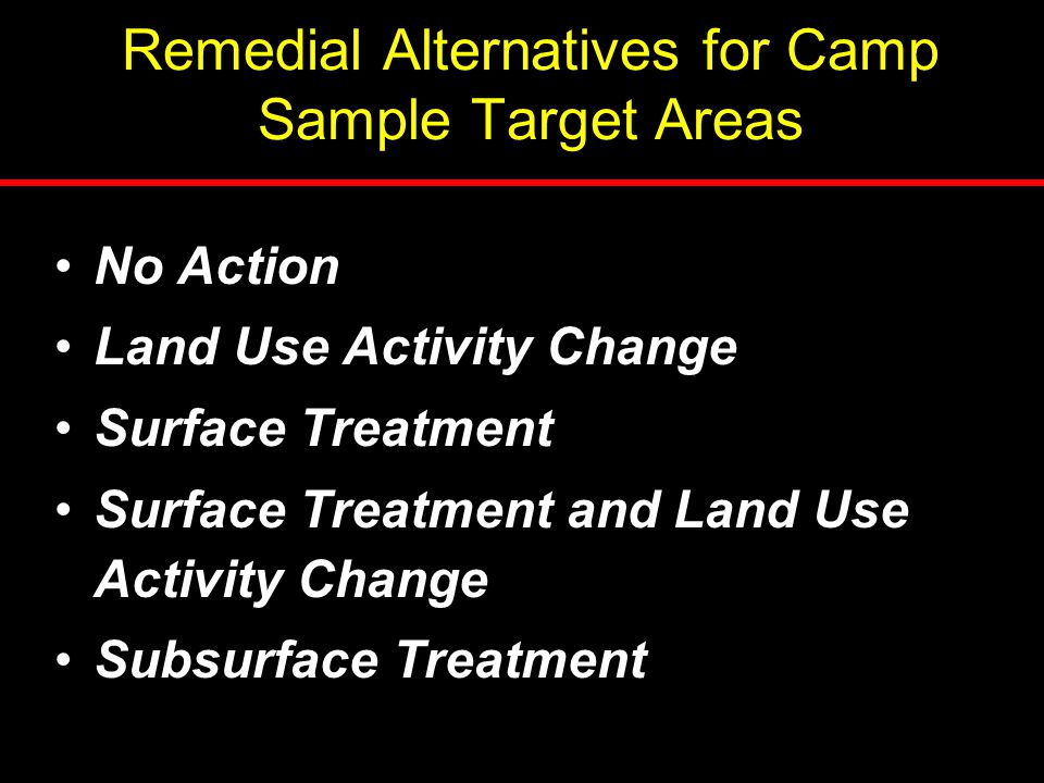 Remedial Alternatives for Camp Sample Target Areas No Action Land Use Activity Change Surface Treatment Surface Treatment and Land Use Activity Change