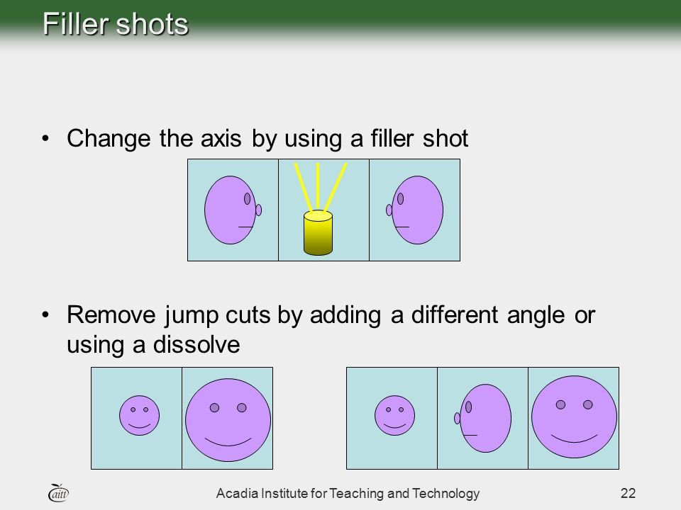 Acadia Institute for Teaching and Technology22 Filler shots Change the axis by using a filler shot Remove jump cuts by adding a different angle or usi