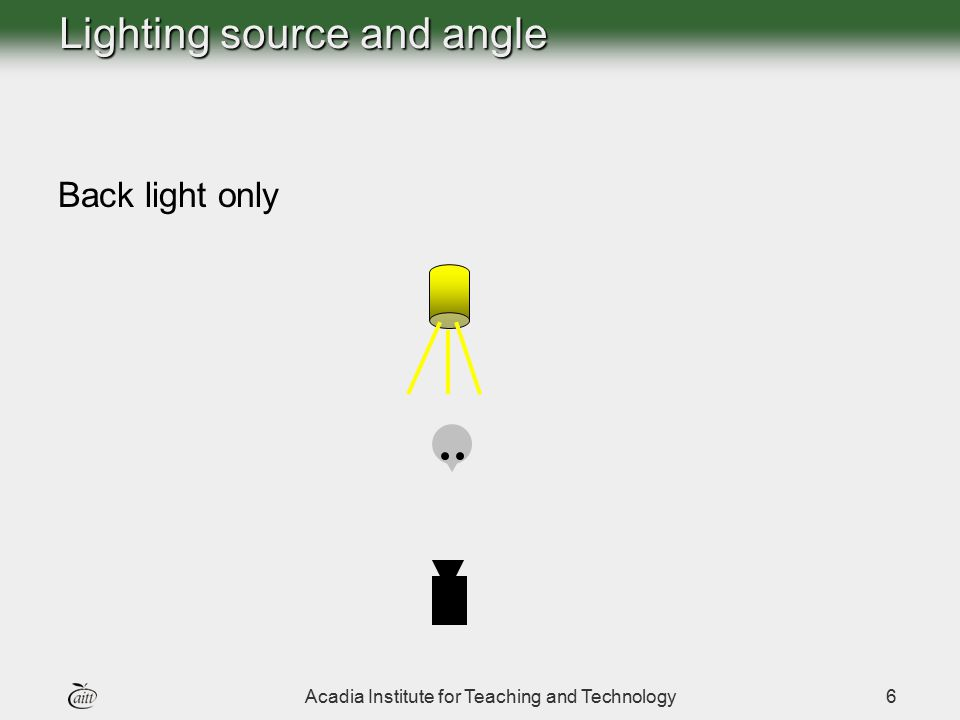 Acadia Institute for Teaching and Technology7 Lighting source and angle Overhead light only