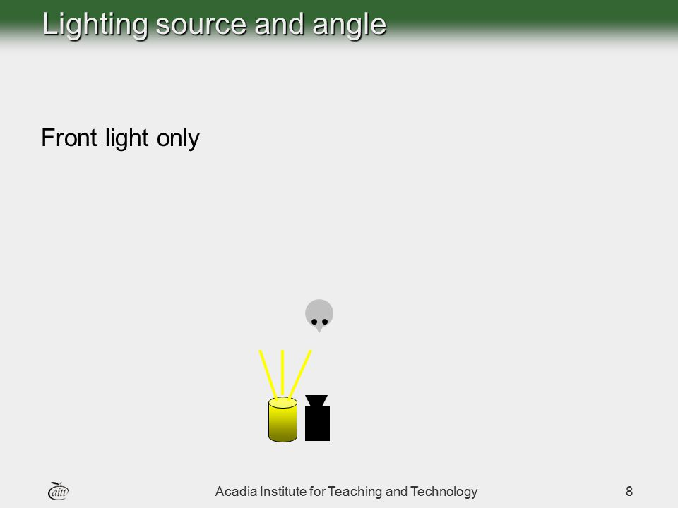 Acadia Institute for Teaching and Technology8 Lighting source and angle Front light only