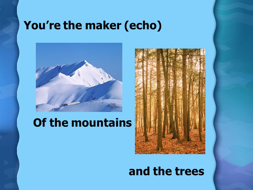 You're the maker (echo) Of the mountains and the trees