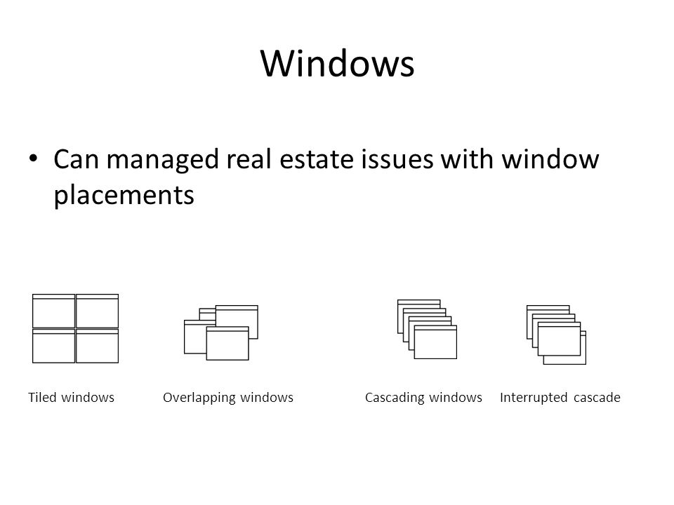 Windows Can managed real estate issues with window placements Tiled windowsOverlapping windowsCascading windowsInterrupted cascade