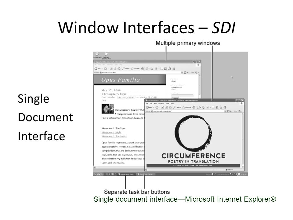 Window Interfaces – MDI Multiple Document Interface (more powerful, but also more complex for user) Multiple document interface—Adobe PhotoShop® application.