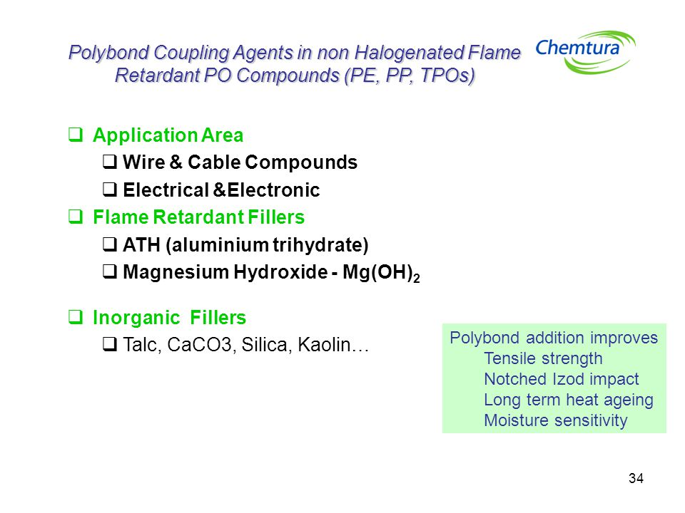 34 Polybond Coupling Agents in non Halogenated Flame Retardant PO Compounds (PE, PP, TPOs)  Application Area  Wire & Cable Compounds  Electrical &Electronic  Flame Retardant Fillers  ATH (aluminium trihydrate)  Magnesium Hydroxide - Mg(OH) 2  Inorganic Fillers  Talc, CaCO3, Silica, Kaolin… Polybond addition improves Tensile strength Notched Izod impact Long term heat ageing Moisture sensitivity