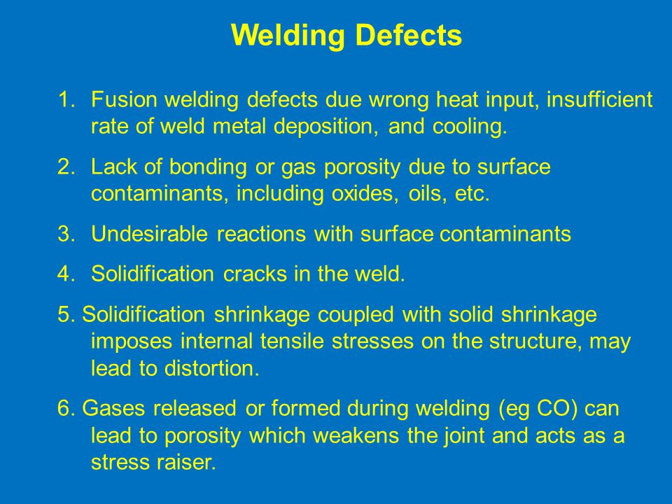 1.Fusion welding defects due wrong heat input, insufficient rate of weld metal deposition, and cooling.