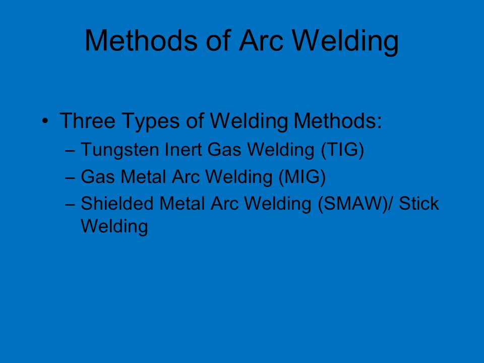 Methods of Arc Welding Three Types of Welding Methods: –Tungsten Inert Gas Welding (TIG) –Gas Metal Arc Welding (MIG) –Shielded Metal Arc Welding (SMAW)/ Stick Welding
