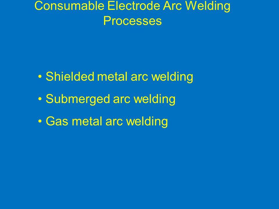 Consumable Electrode Arc Welding Processes Shielded metal arc welding Submerged arc welding Gas metal arc welding