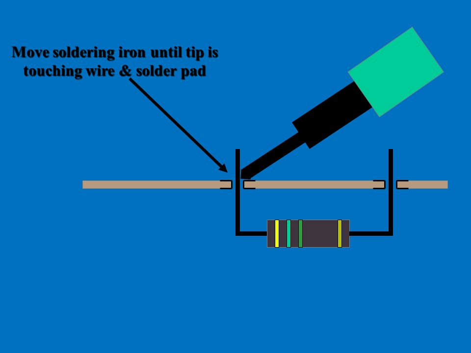 Move soldering iron until tip is touching wire & solder pad
