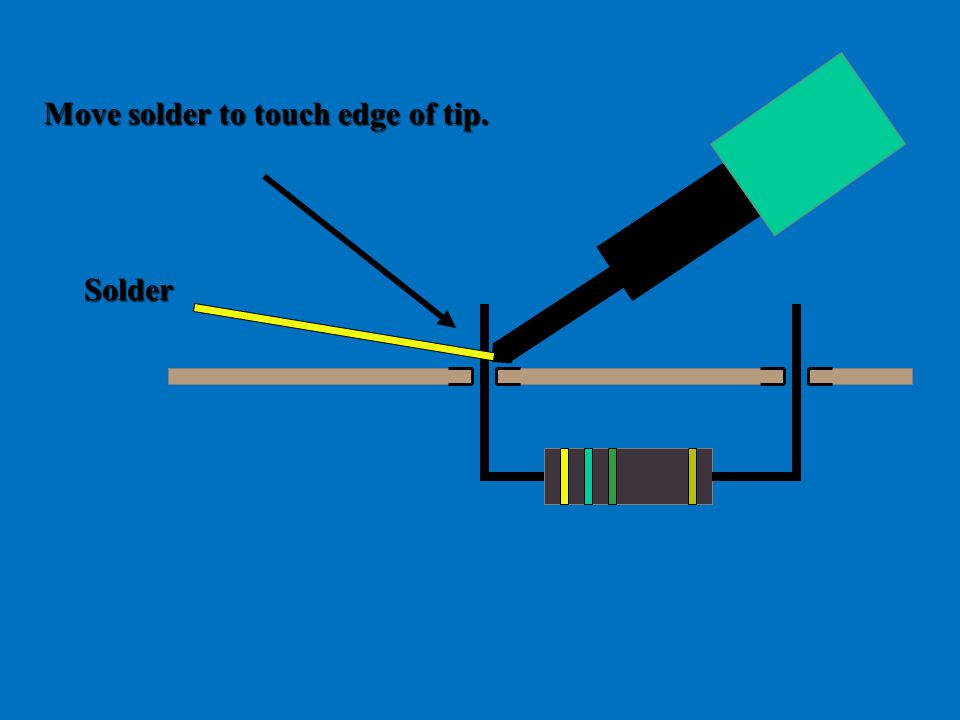 Move solder to touch edge of tip. Solder
