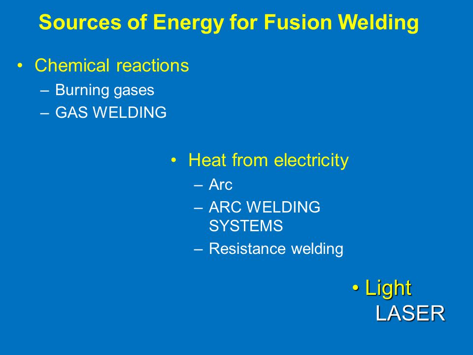 Sources of Energy for Fusion Welding Chemical reactions –Burning gases –GAS WELDING Heat from electricity –Arc –ARC WELDING SYSTEMS –Resistance welding Light LightLASER