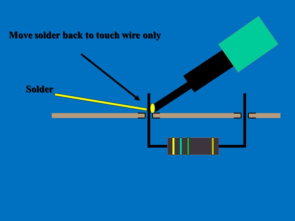 Move solder back to touch wire only Solder