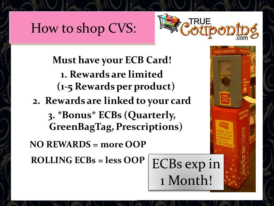 NO REWARDS = more OOP ROLLING ECBs = less OOP ECBs exp in 1 Month.