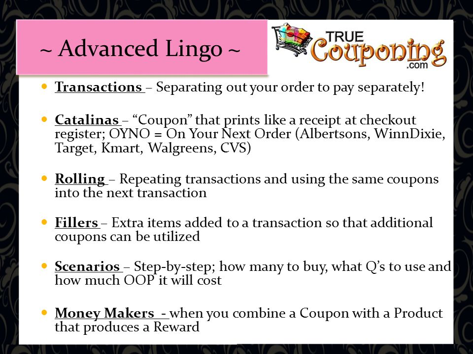 Transactions – Separating out your order to pay separately.