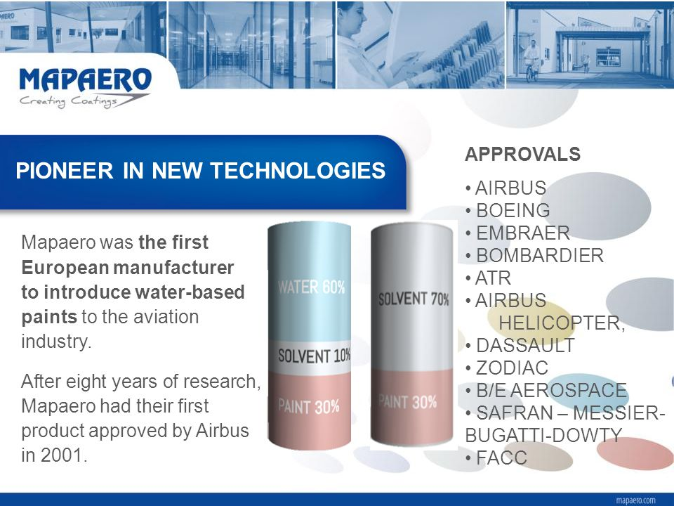 Mapaero was the first European manufacturer to introduce water-based paints to the aviation industry. After eight years of research, Mapaero had their