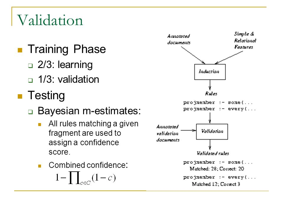 Validation Training Phase  2/3: learning  1/3: validation Testing  Bayesian m-estimates: All rules matching a given fragment are used to assign a confidence score.