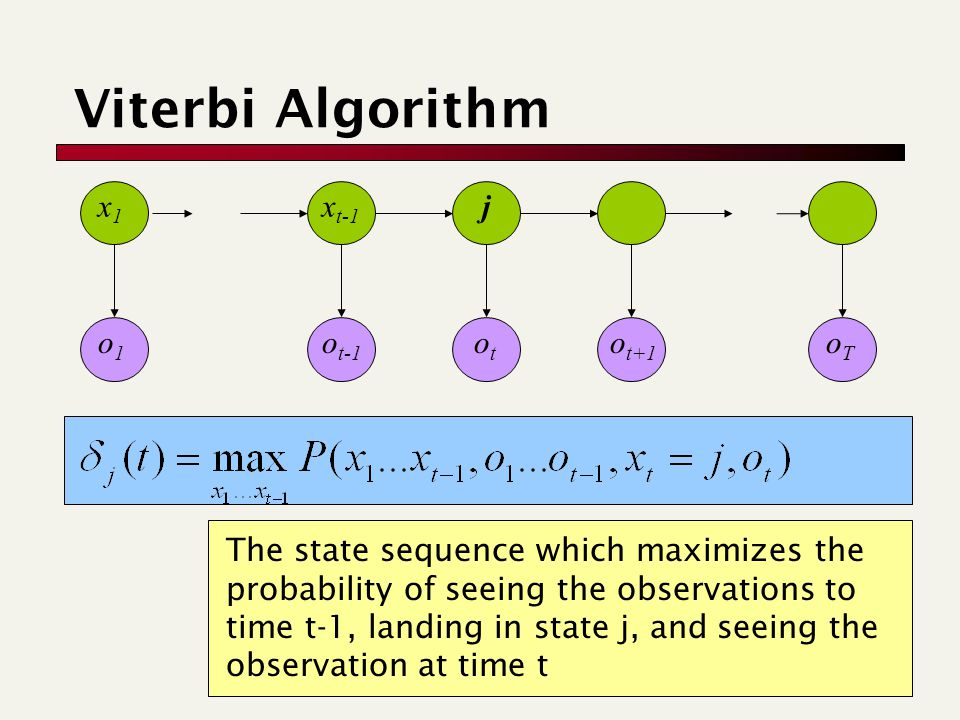 oToT o1o1 otot o t-1 o t+1 Viterbi Algorithm The state sequence which maximizes the probability of seeing the observations to time t-1, landing in state j, and seeing the observation at time t x1x1 x t-1 j