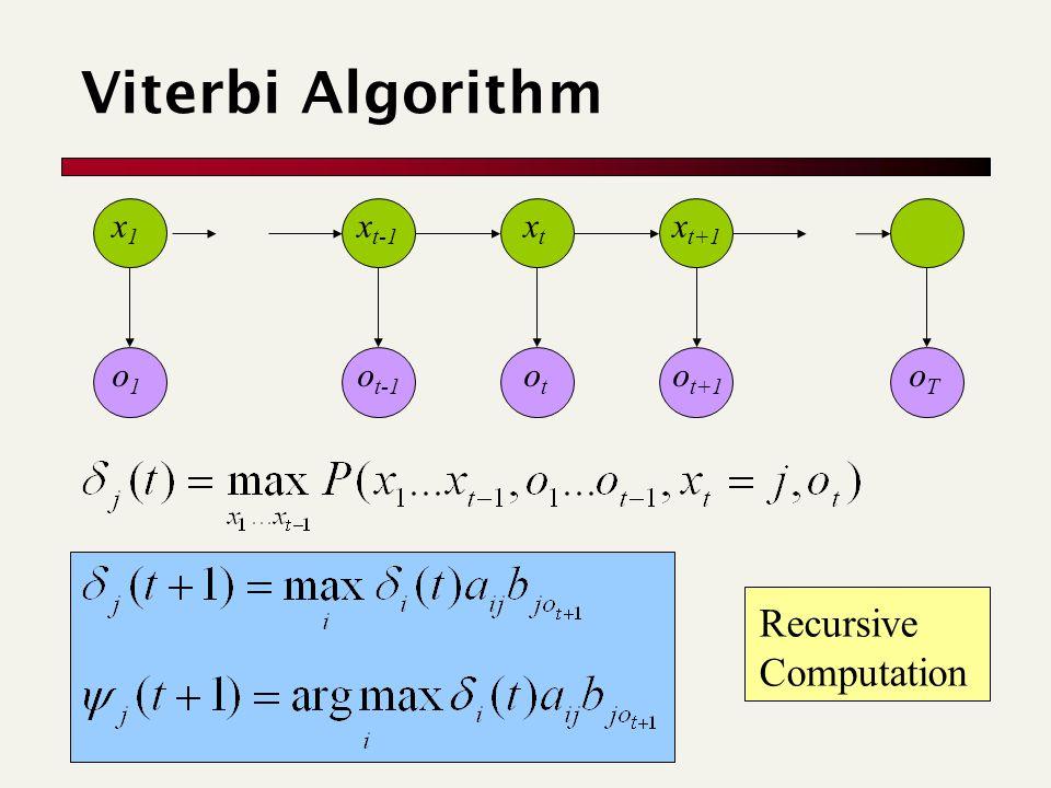oToT o1o1 otot o t-1 o t+1 Viterbi Algorithm Recursive Computation x1x1 x t-1 xtxt x t+1