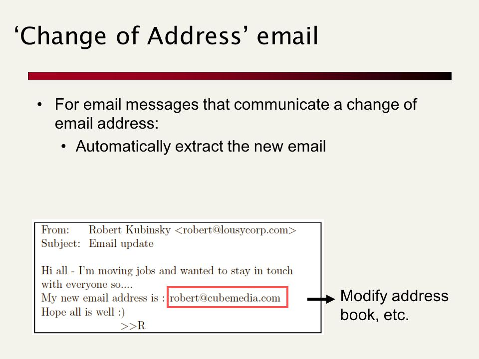 'Change of Address' email Modify address book, etc. For email messages that communicate a change of email address: Automatically extract the new email