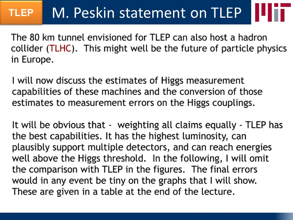TLEP M. Peskin statement on TLEP