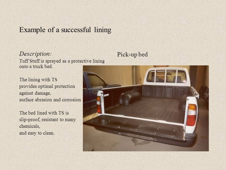 Preparation : Clean bed, tape with fiber tape, sand the painted bed (cup-brush/sandpaper), clean with acetone and tape the vehicle, cover holes and screw threads as needed.