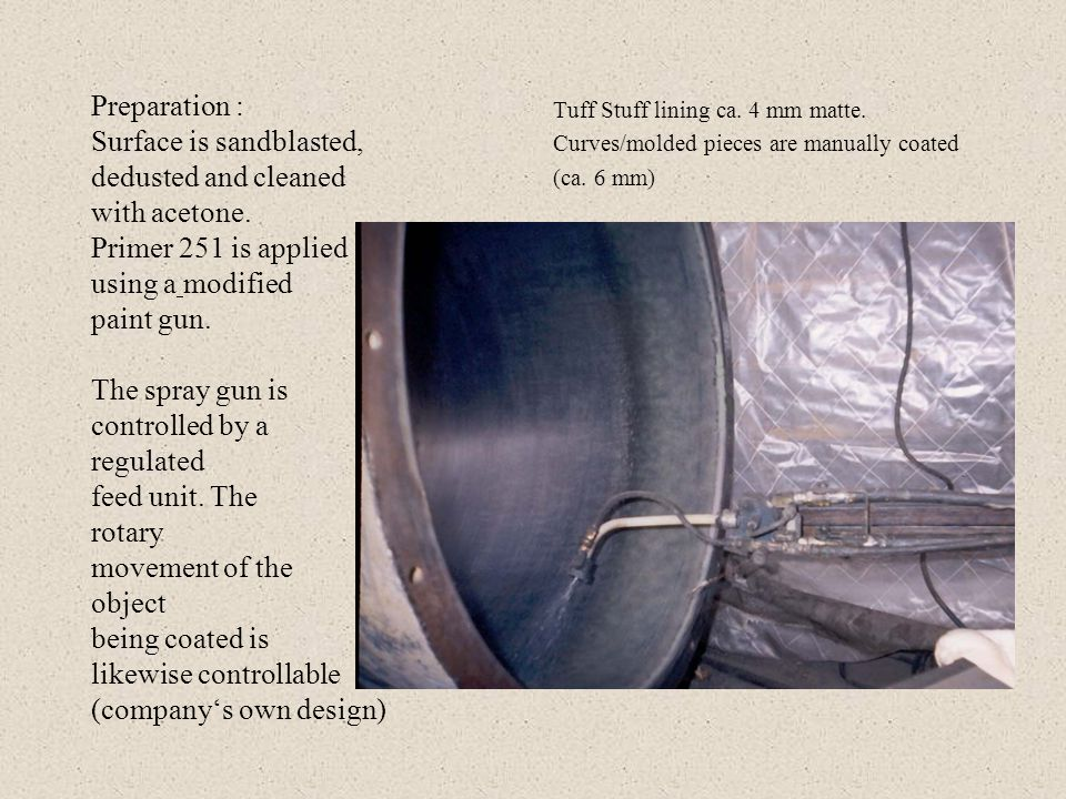 Example of a sucessful lining Description: Tuff Stuff is sprayed on as a seamless protective lining onto a plywood interior shell.