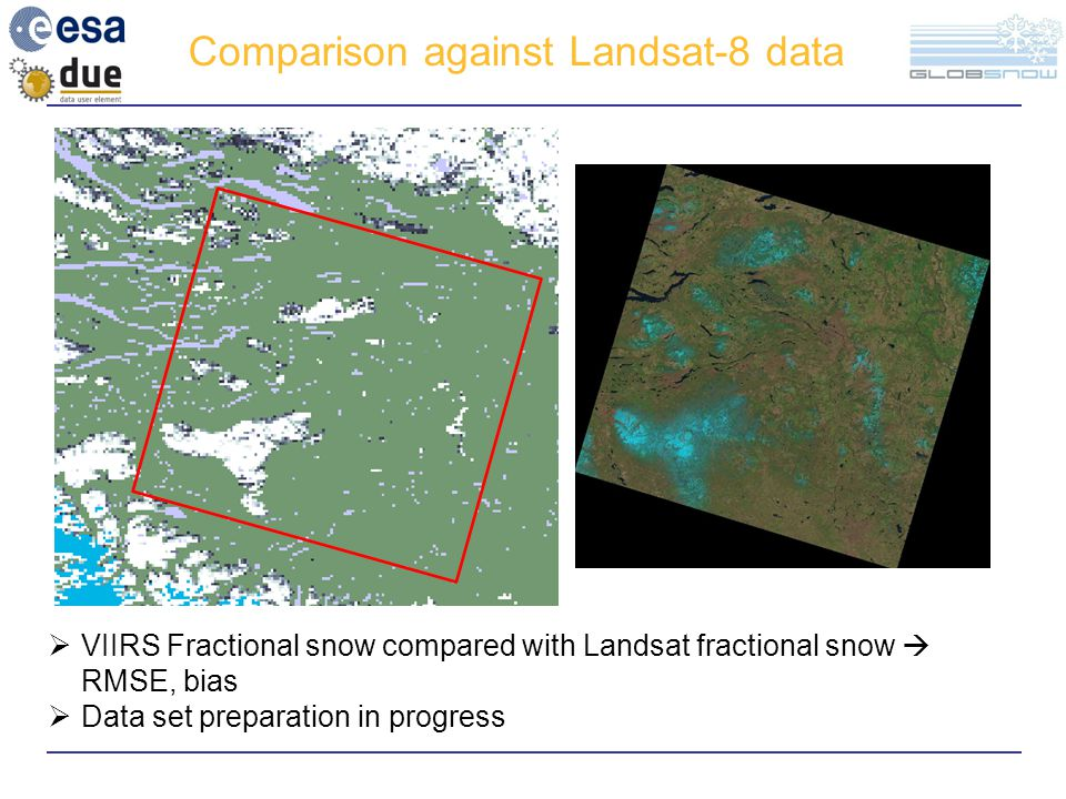 Comparison against Landsat-8 data  VIIRS Fractional snow compared with Landsat fractional snow  RMSE, bias  Data set preparation in progress