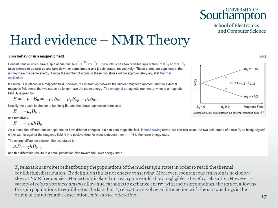 17 Hard evidence – NMR Theory T 1 relaxation involves redistributing the populations of the nuclear spin states in order to reach the thermal equilibrium distribution.