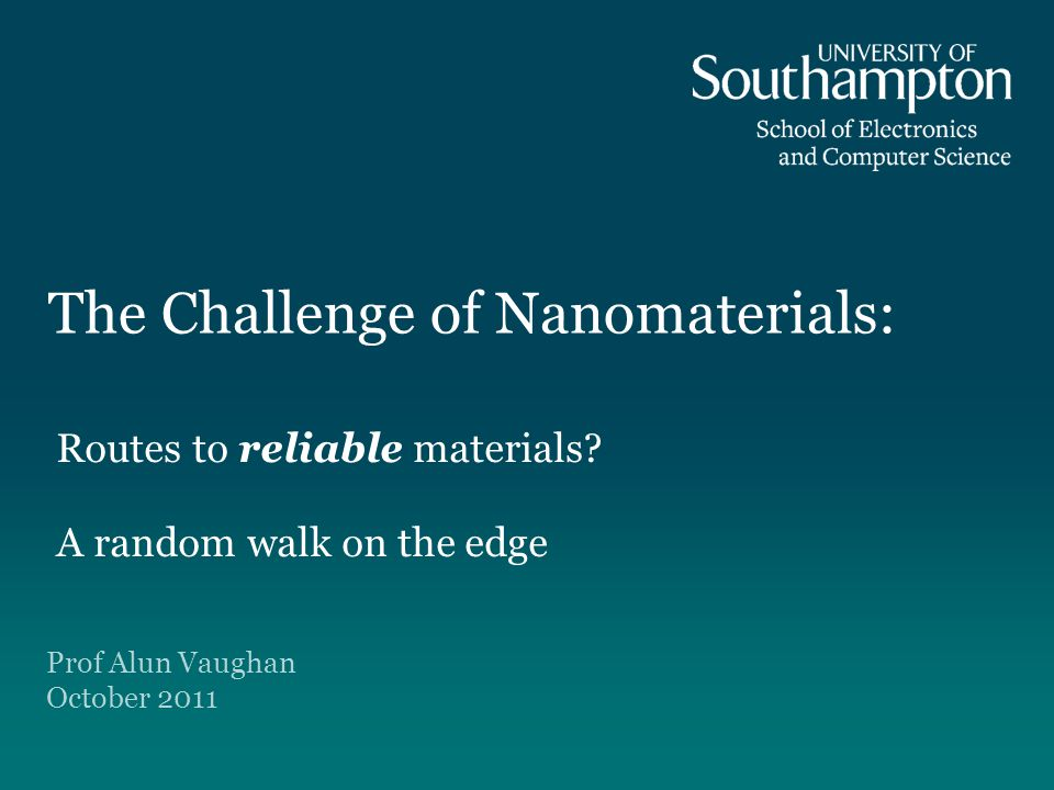 The Challenge of Nanomaterials: Routes to reliable materials.