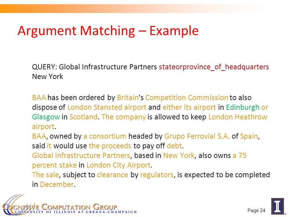 Argument Matching – Example QUERY: Global Infrastructure Partners stateorprovince_of_headquarters New York BAA has been ordered by Britain's Competiti