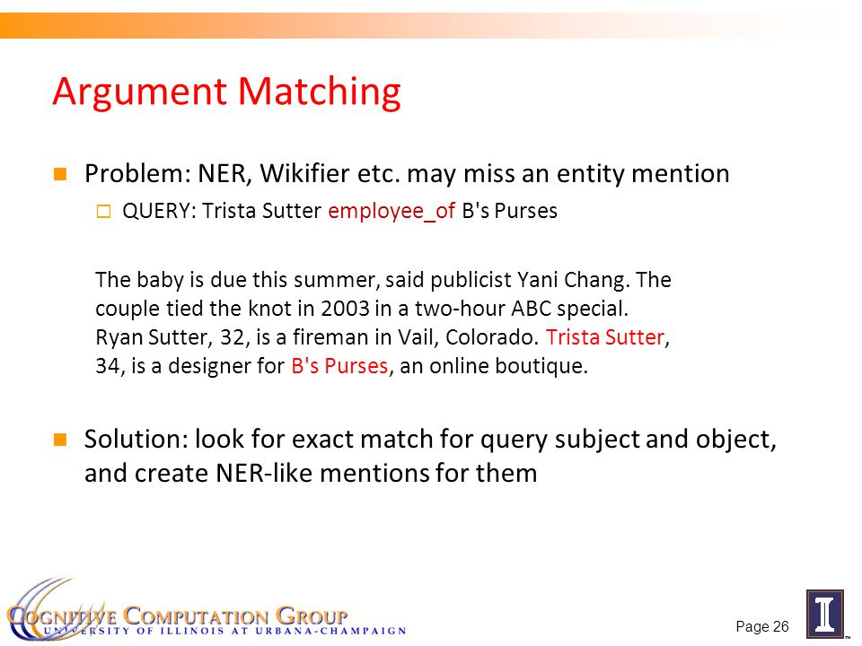 Argument Matching Problem: NER, Wikifier etc.