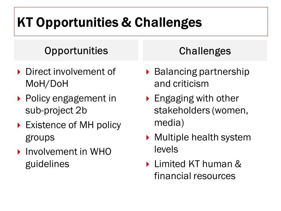 KT Opportunities & Challenges Opportunities Challenges  Direct involvement of MoH/DoH  Policy engagement in sub-project 2b  Existence of MH policy groups  Involvement in WHO guidelines  Balancing partnership and criticism  Engaging with other stakeholders (women, media)  Multiple health system levels  Limited KT human & financial resources
