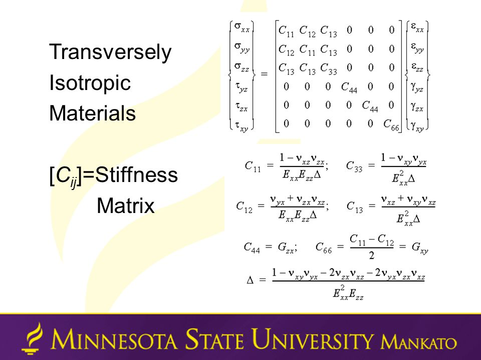Transversely Isotropic Materials [C ij ]=Stiffness Matrix
