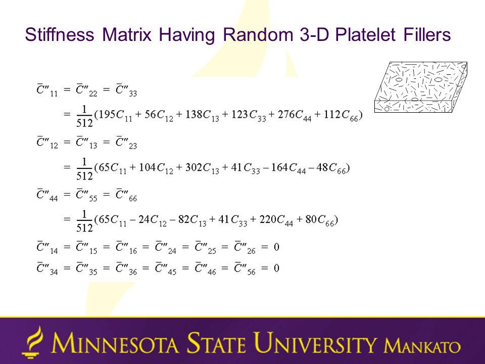 Stiffness Matrix Having Random 3-D Platelet Fillers